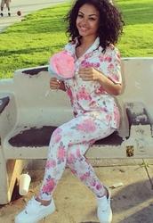 pants,floral,white,pink,printed pants,shirt,india westbrooks,jumpsuit