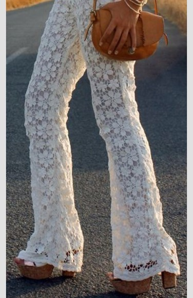 white lace pants pants white pants