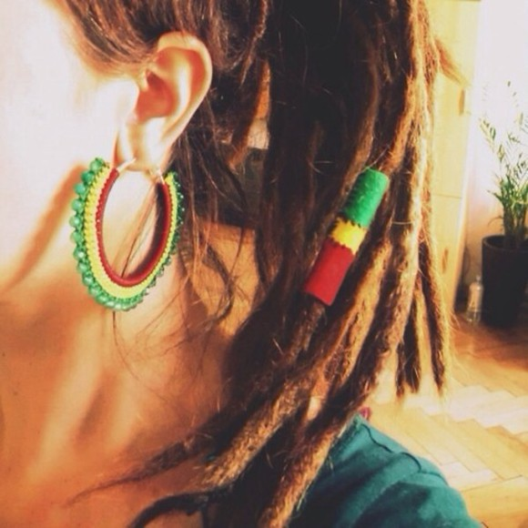 jewels hoops earrings rasta yellow red green hippy