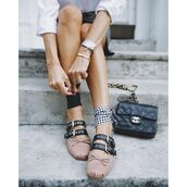 shoes,tumblr,flats,ballet flats,miu miu,bag,black bag,chanel,chanel bag,watch,bracelets,pink shoes,studded shoes,studs,gingham,blogger