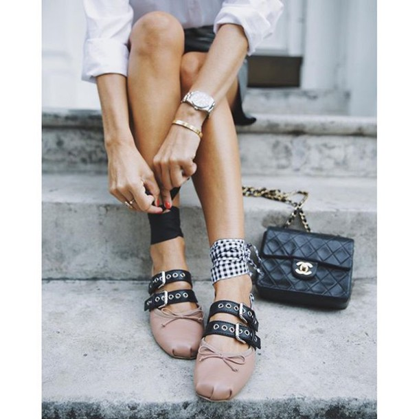 8bdefbbddc8 shoes tumblr flats ballet flats miu miu bag black bag chanel chanel bag  watch bracelets pink