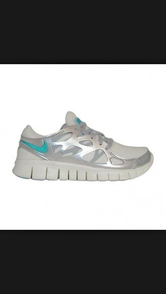 shoes nike silver nike free run 2.0 light blue