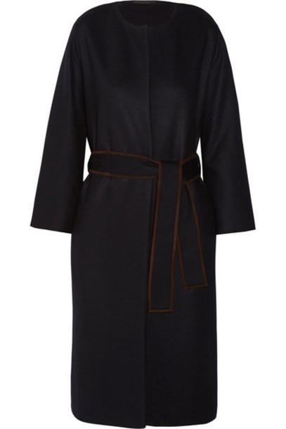 The Row coat navy suede wool
