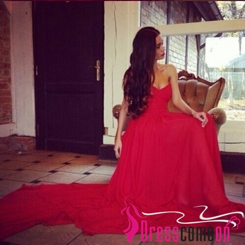 Wholesale A line Sweetheart Sweep Train Chiffon Red Prom/Evening/Graduation Gown