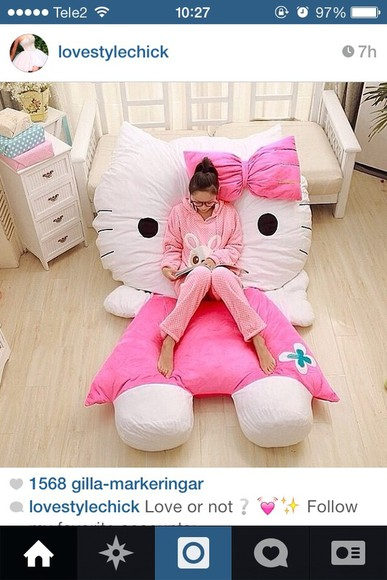 sweater folk large pillow comfy cute doll bedding sleep girly hello kitty