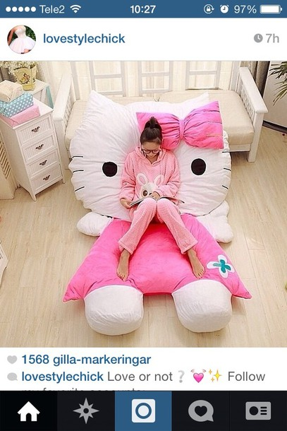 e970f21c4f large pillow comfy cute doll bedroom sleep girly hello kitty sweater bag