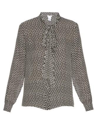 shirt print silk black top