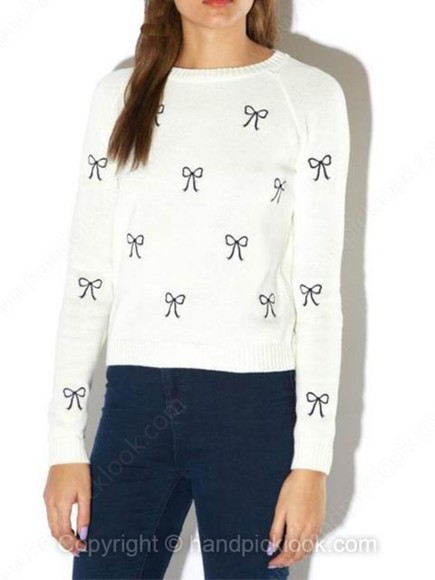 white navy sweater white sweater bows bow sweater bow print