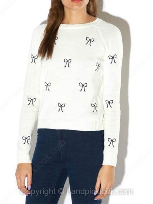 sweater white white sweater navy bows bow sweater bow print
