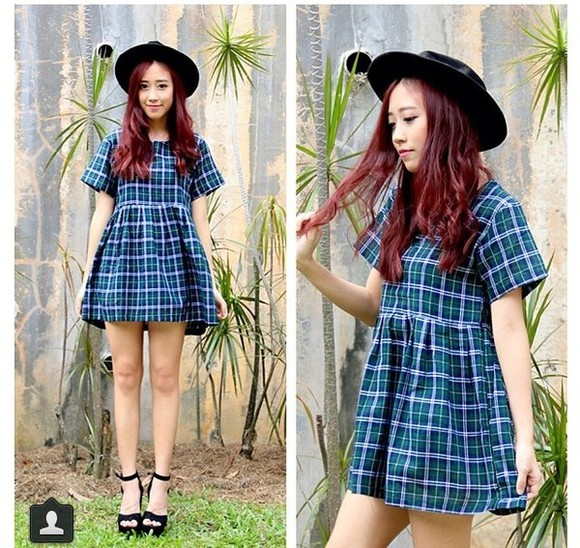 short dress checkered blue green purple violet lilac baby doll dress sleeve tartan