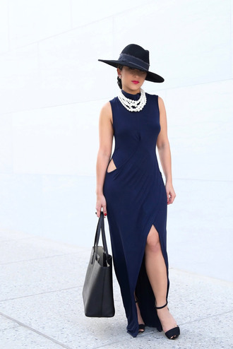 ktr style blogger jewels hat royal blue dress blue dress cut-out dress pearl statement necklace black bag black heels all navy blue outfit