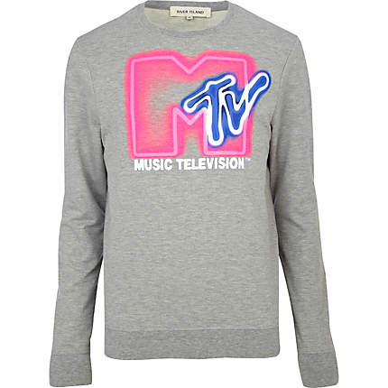 Grey marl mtv neon print sweatshirt