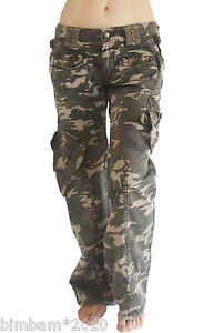 Women Green Camo Army Designer Fashion Cargo Pants s M L NWT | eBay