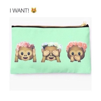 home accessory mint pencil case bag emoji print monkey flower crown makeup pouch mint green makeup bag with emojis nail accessories this case exactly like this
