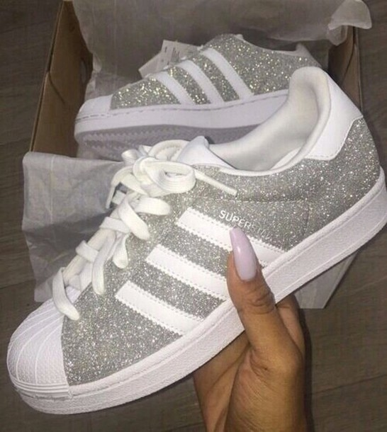 shoes, adidas, superstar, black, grey, glitter,
