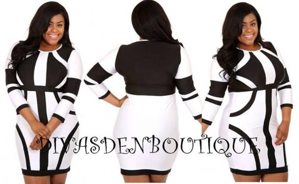 Dress Plus Size Curvy Black And White Dress Black White Plus
