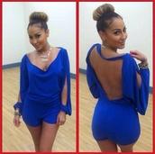 shorts,romper,dress,pants,combishort,bleu,dos nu,soirée,jumpsuit,blue dress,jumper,cute dress,outfit,fancy dress