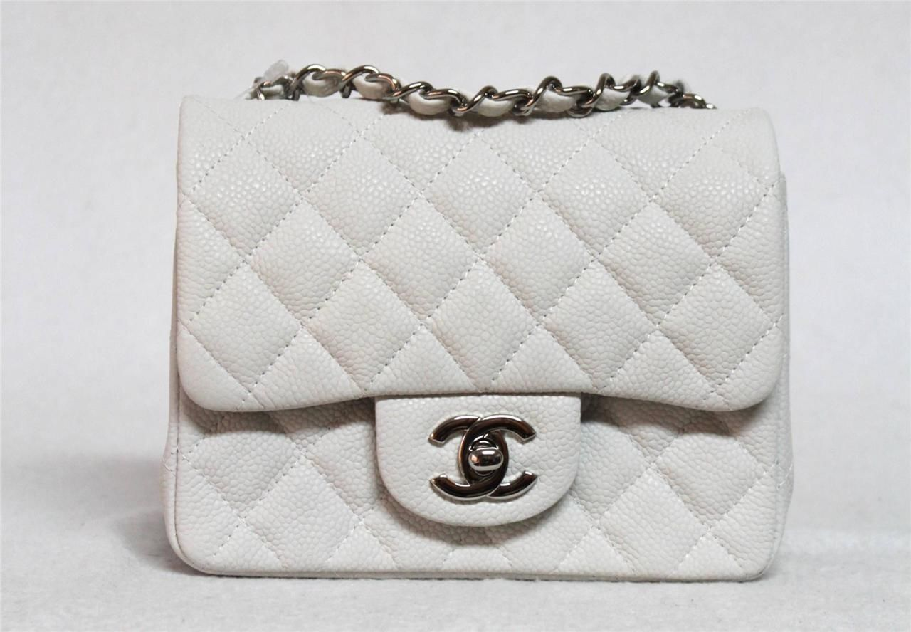 a175f4bceb8184 New Chanel Mini Flap White Caviar Leather Messenger Bag