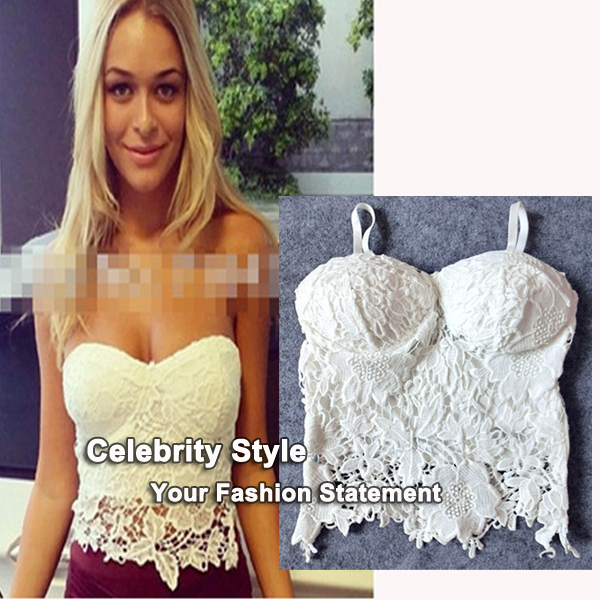 TT36 Celebrity Style Women Modal Lace Crochet Floral Knitted Padded Bustier Crop Croset Tank Tops Bras Black White Free Shipping-in Tank Tops from Apparel & Accessories on Aliexpress.com