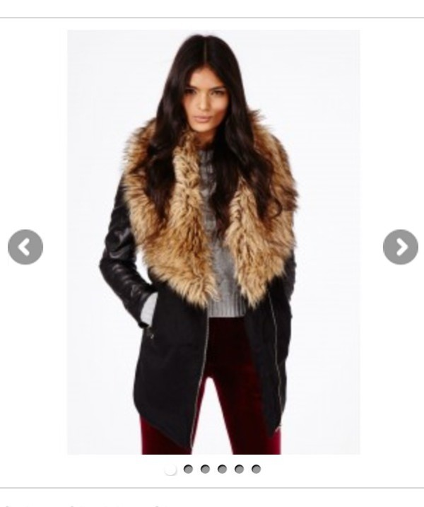 Missguided - Orla Faux Fur Leather Biker Sleeve Coat Black