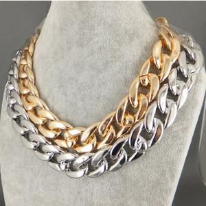 "New Shiny Cut Light Gold Plated Chunky Aluminium Curb Chain Necklace 18""26"" | eBay"