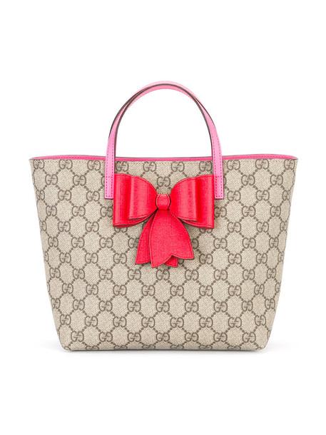 5cec85af7 Gucci Kids GG Supreme bow bag, Girl's, Brown - Wheretoget
