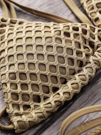 Fashion Spaghetti Straps Solid Color Mesh Bikini Set For Women