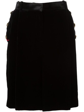 skirt women cotton black silk wool