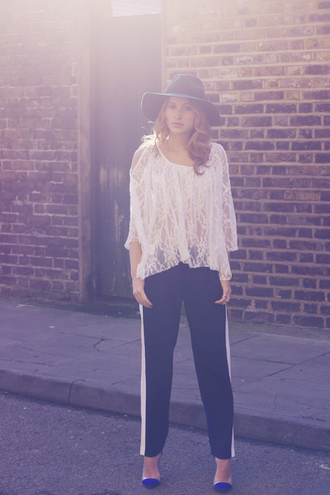 at fashion forte blogger hat joggers lace top