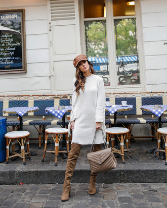 dress tumblr knit knitwear knitted dress sweater dress long sleeves long sleeve dress hat fisherman cap boots brown boots