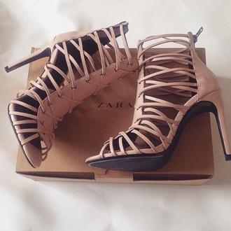 shoes zara heels nude strappy
