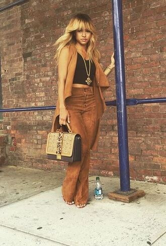 coat vest pants karrueche purse fashion week