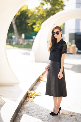 m loves m blogger black blouse black leather skirt midi skirt classy