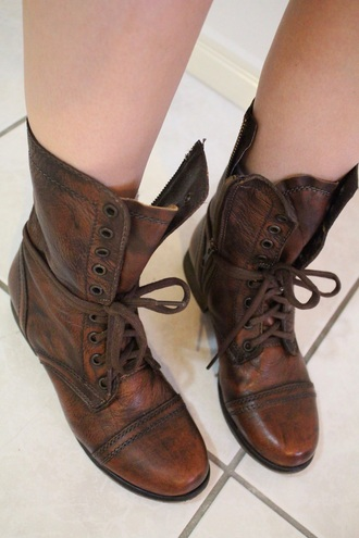 shoes brown leather combat boots