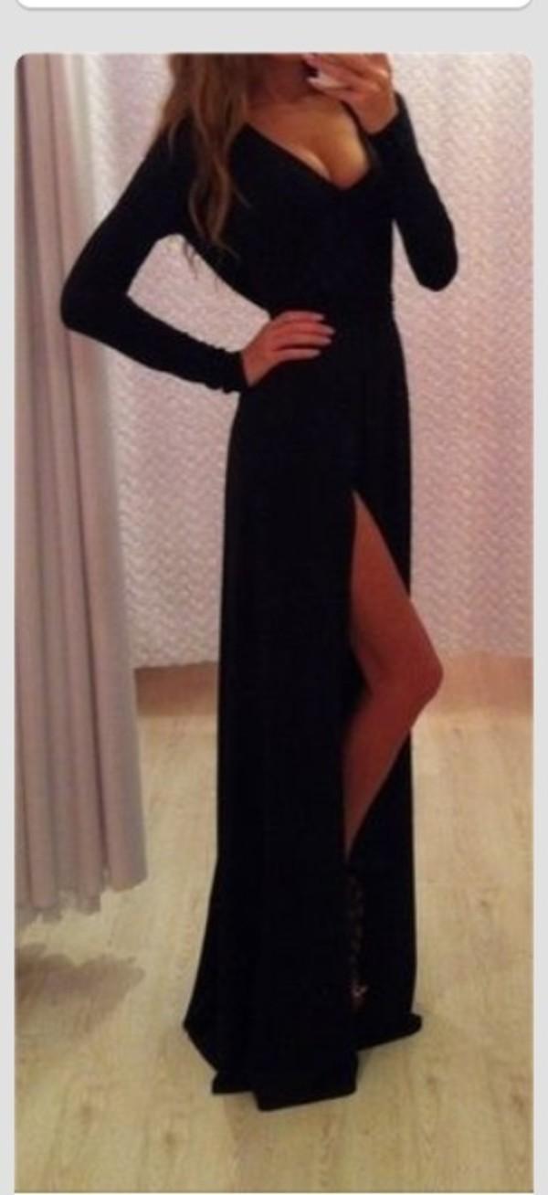 dress long tight solid cute long sleeves black. long dress