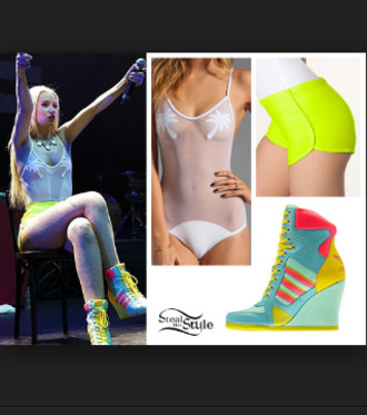 shoes see through high waisted shorts wedge sneakers shorts swimwear body neon bright sneakers