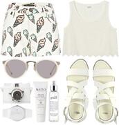 shorts,cute,ice cream,white,High waisted shorts