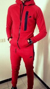 jumpsuit,nike,red,black,menswear,beautiful,jogging set,nike jogging suit