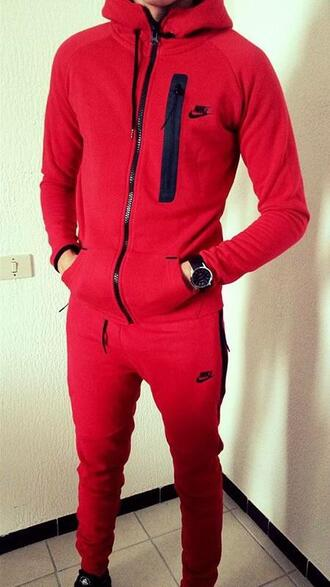 jumpsuit nike red black menswear beautiful jogging set nike jogging suit