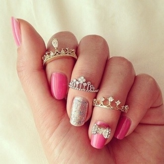 jewels ring crowns princess shiny sparkle jewelry glitter ring glitter rings and tings nail accessories