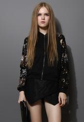 jacket,sequins,floral,leaves,bomber jacket,black