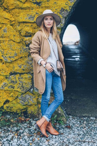 prosecco and plaid blogger brown leather boots camel coat