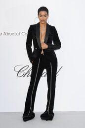 pants,teyana taylor,black,all black everything,blazer,suit,amfar,cannes,sexy,edgy,plunge v neck,philipp plein