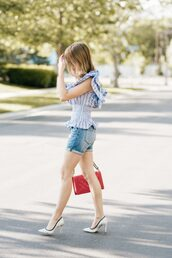 top,tumblr,blue top,stripes,striped top,shorts,denim,denim shorts,pumps,pointed toe pumps,white heels,bag,red bag