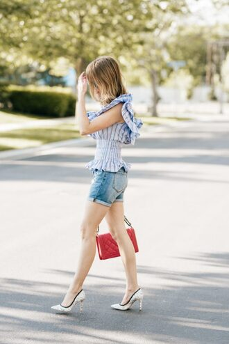 top tumblr blue top stripes striped top shorts denim denim shorts pumps pointed toe pumps white heels bag red bag