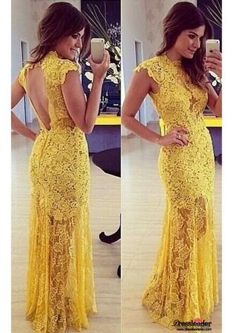 dress lace long prom dresses yellow dress open back dresses open back prom dress keyhole dress keyhole prom dresses high neck high neck dresses