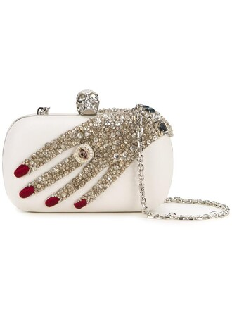 skull women clutch white bag