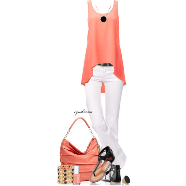 tank top white pants black sandals shoes bag jewels