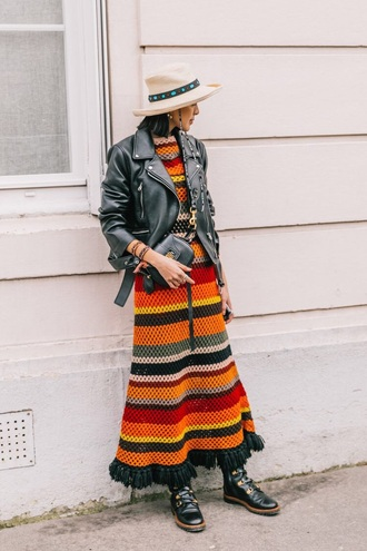 dress maxi dress boots black boots jacket leather jacket hat knit knitwear knitted dress stripes striped dress