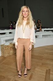 pants,blouse,ellie goulding,fashion week 2014,culottes